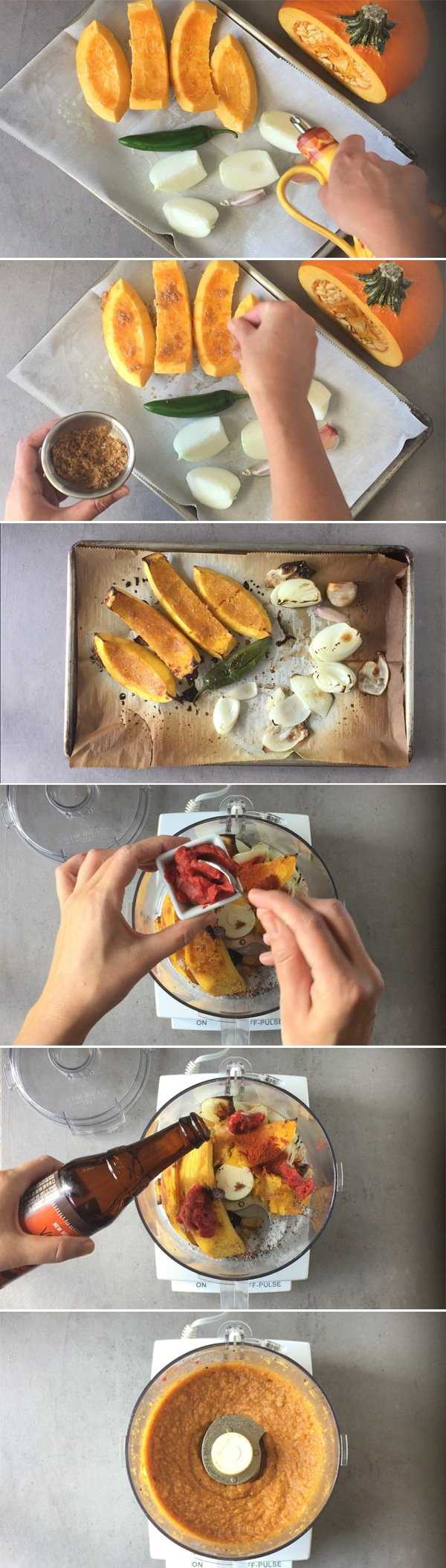 Roasted pumpkin dip step by step actions image grid