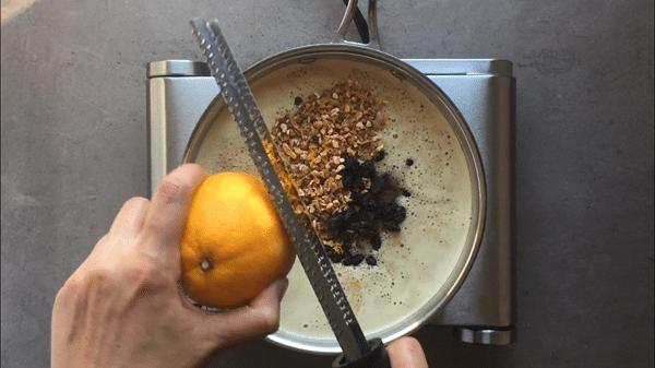 Add fresh orange zest