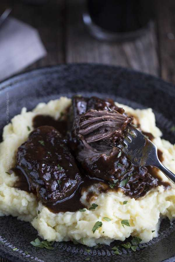 Beer braised short ribs - so tender that the meat is easy to separate without effort , as shown - just using a fork.