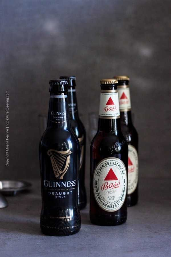 Black and Tan Ingredients - Guinness Draught Stout and Bass Pale Ale.