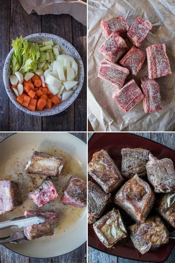 Step by step - season and brown the short ribs on all sides.