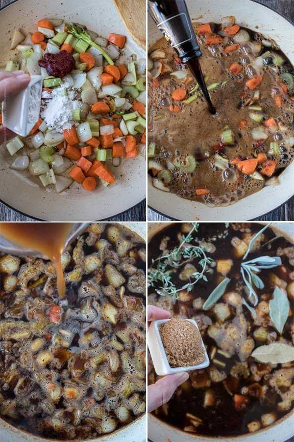 Image grid showing the steps to prepare the braising liquid for beer braised short rib.