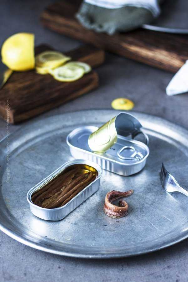 Canned anchovies in olive oil.