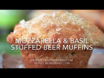 Beer Muffins Stuffed with Mozzarella & Basil